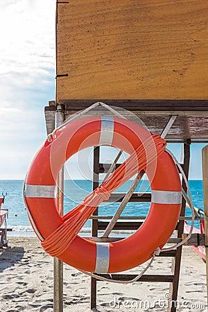 Lifebuoy on lifeguard tower