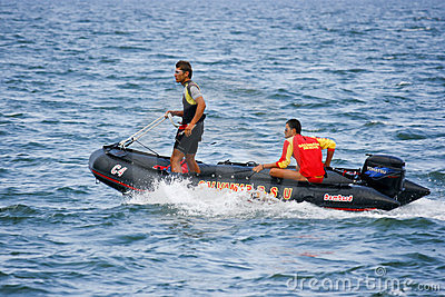 Lifeguard boat in action Editorial Stock Image