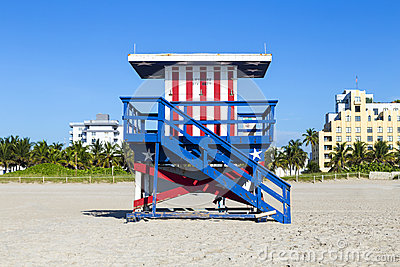 Lifeguard cabin on empty beach,