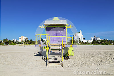 Lifeguard cabin on empty beach,