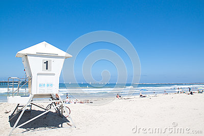 Lifeguard cabin in Pacific Beach Editorial Photo