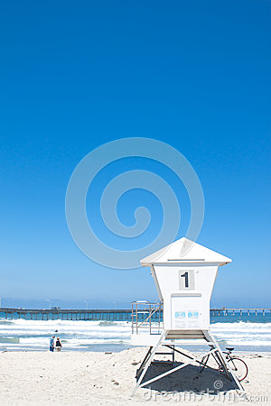 Lifeguard cabin in Pacific beach. copy space Editorial Stock Image