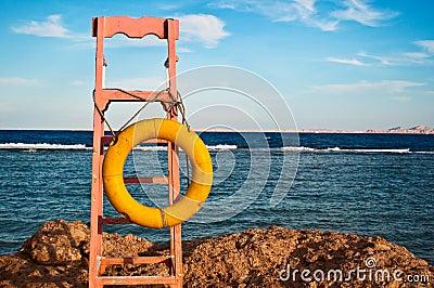 Lifeguard chair with lifebuoy