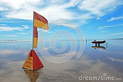 Lifeguard flag at Murawhai beach