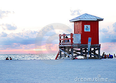Lifeguard hut on sandy beach