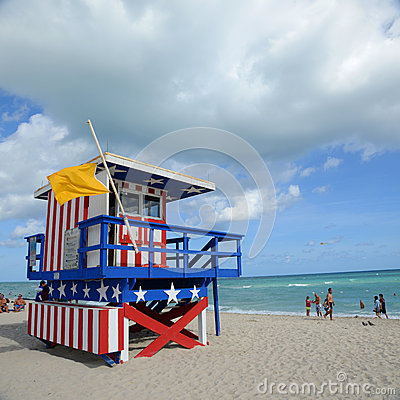 Lifeguard Huts in South Beach, Miami Beach Editorial Photo