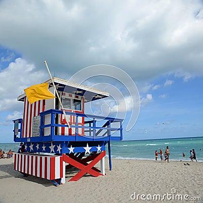Lifeguard Huts in South Beach, Miami Beach Editorial Photo
