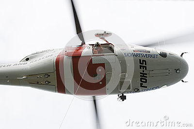Search and rescue SAR helicopter hovering Editorial Stock Photo