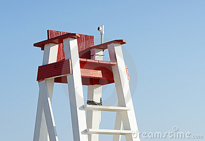Lifeguard s seat against blue sky