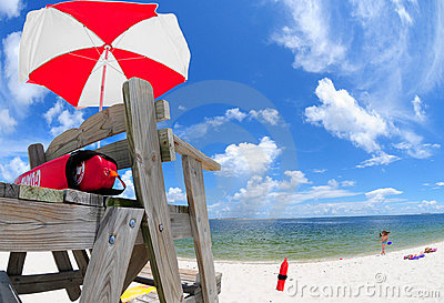 Lifeguard stand at beach