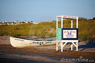 Lifeguard Stand and Boat on the Beach