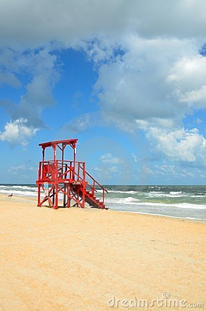 Lifeguard tower on beach