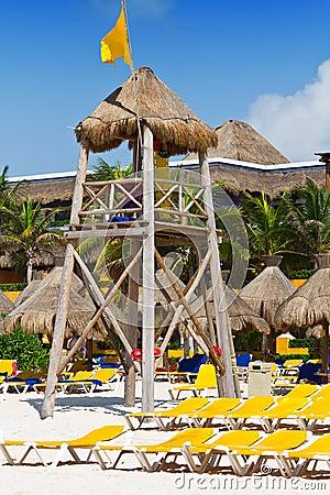 Lifeguard tower on the Caribbean beach