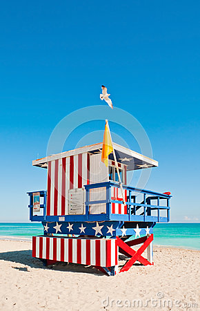 Free Lifeguard Tower In Miami Beach, USA Stock Images - 29470294