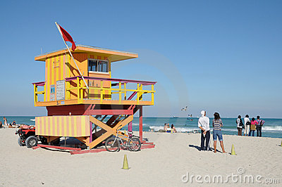 Lifeguard Tower at Miami Beach Editorial Photo