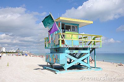 Lifeguard Tower at Miami Beach Editorial Stock Image