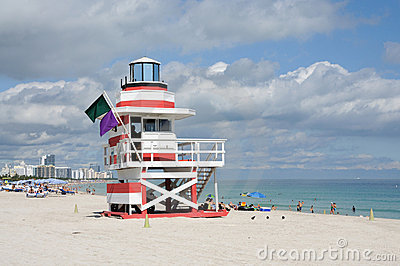 Lifeguard Tower at Miami Beach Editorial Stock Photo
