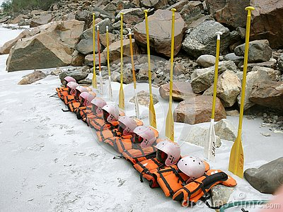 Lifejackets and oars lined up