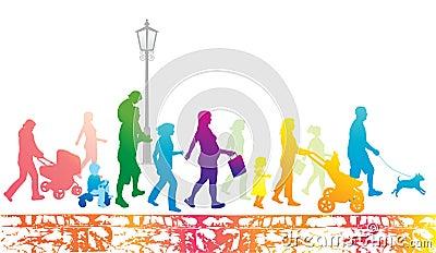Lifestyle in the city. Walking people.Urban scene.