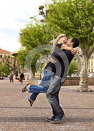 Lift Hug - Happy European Couple