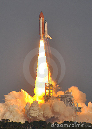 Lift off! Space Shuttle Discovery Clears the Tower Editorial Photo