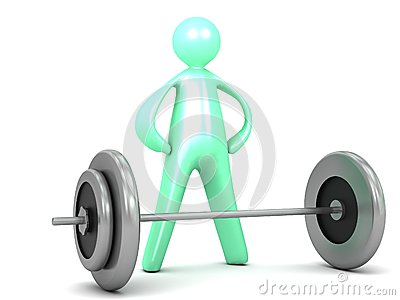 Lifting barbell Weights exercise Cartoon