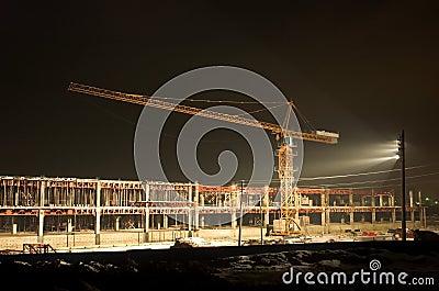 Lifting crane on construction