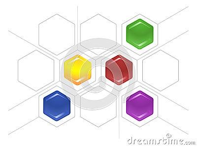Lig o esquema dos hexágonos e de linhas cinzentas