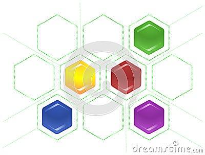 Lig o esquema dos hexágonos e de linhas pontilhadas