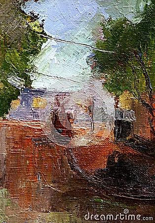 Liggande målning för stad
