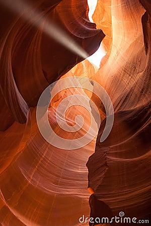 Light beam in Antelope Canyon in Arizona