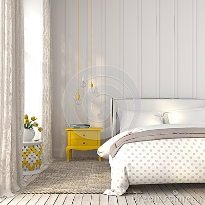 Free Light Bedroom With Yellow Bedside Table Royalty Free Stock Photography - 53997757