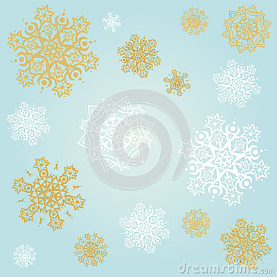 Light blue background with snowflakes