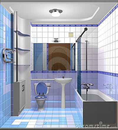 Light blue bath room