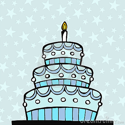 Light Blue Birthday Cake Stock Image Image 12623021