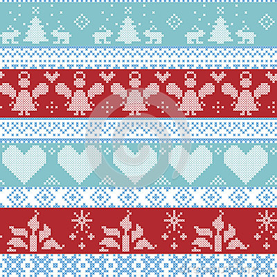 Free Light Blue, Blue, White And Red Scandinavian Nordic Christmas Seamless Cross Stitch Pattern With Angels, Xmas Trees, Rabbits, Snow Royalty Free Stock Photo - 59086165