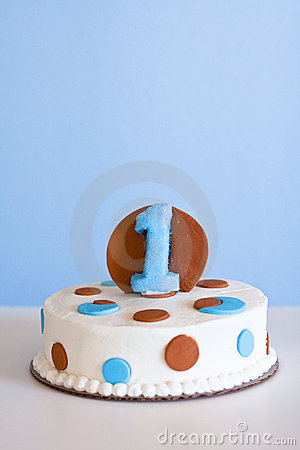 Light blue and brown cake with the #1
