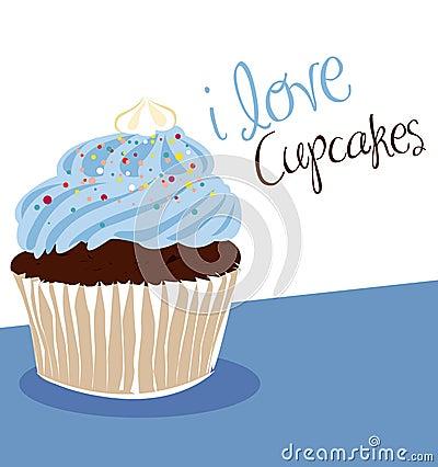 Light blue cupcake