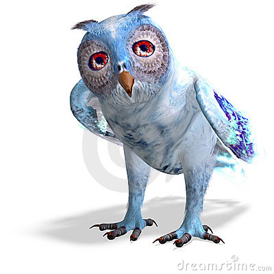 Light blue fantasy owl.3D rendering with clipping