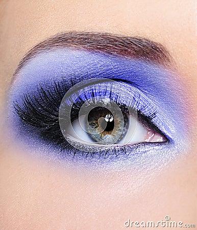 Light blue make-up of woman eye
