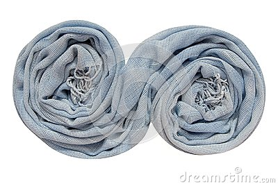 The light blue scarf is folds in spiral shape.