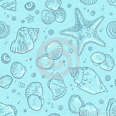 Light blue seamless seashells pattern