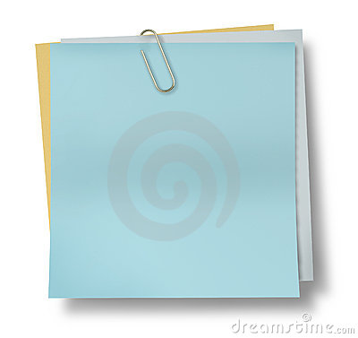 Light blue sticky note paper with paper clip isola
