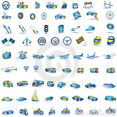 Light blue Transport icons