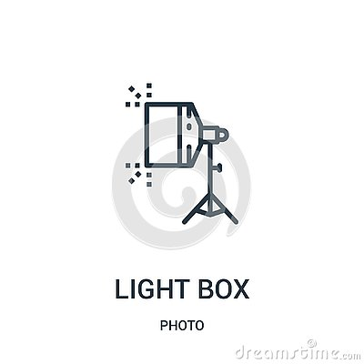 light box icon vector from photo collection. Thin line light box outline icon vector illustration. Linear symbol for use on web Vector Illustration