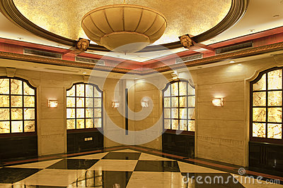 A light and bright luxurious hotel corridor