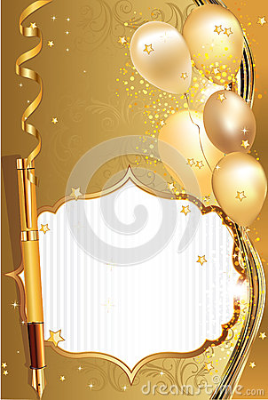 Light Brown Celebration Greeting Card With Balloons Stock ...