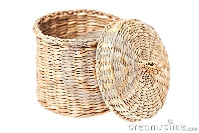 Light brown wicker basket with open lid