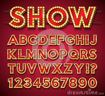 Free Light Bulb Alphabet With Gold Frame And Shadow On Red Backgrond. Glowing Retro Vector Font Collection With Shiny Bright Royalty Free Stock Photos - 115794538