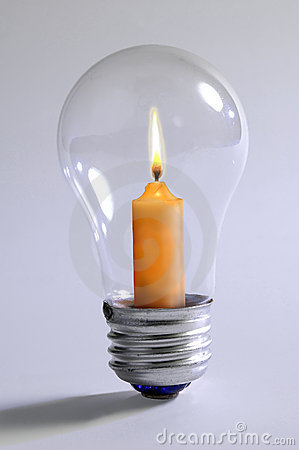 Free Light Bulb And Candle Royalty Free Stock Photos - 1075628